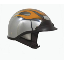 Chrome DOT Approved Motorcycle Biker Helmet with Flame Design