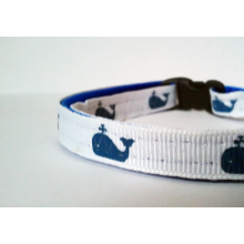 "Breakaway Cat Collar - Cute, Preppy Whales - 3/8"" wide Free Shipping"
