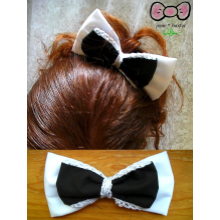 Black/White Lace Bow