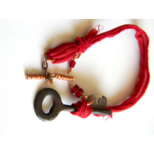 Red Silk and Skeleton Key Bracelet