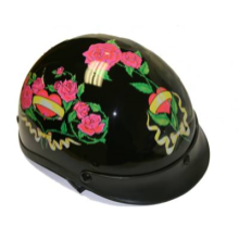 Black DOT Approved Motorcycle Biker Helmet with Floral Roses Design