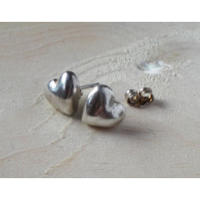 Fine silver heart earrings with sterling posts.