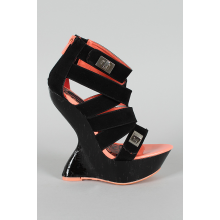 Lock Ornament Strappy Heel Less Curved Wedge