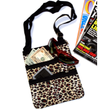 Leopard Print Cross Body Nylon Purse Shoulder Bag