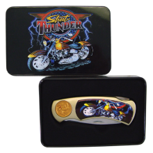 Street Thunder Collectible Knife with Motorcycle Graphic Design in Ornamental Tin Storage Case