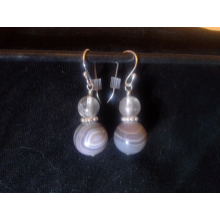 Agate, Fluorite, and Sterling Silver Earrings