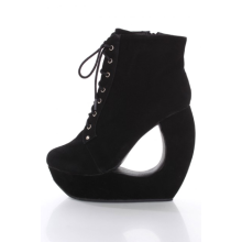 Black Faux Suede Lace Up Round Toe Bootie Cutout Wedge