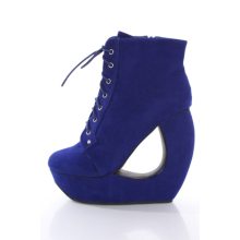 Royal Blue Faux Suede Lace Up Round Toe Bootie Cutout Wedge