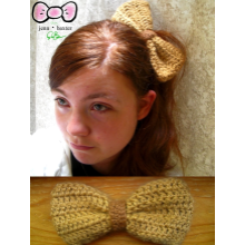 Large Crochet Bow - Brown