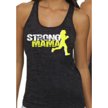 (Pre-Order) Strong Mama 'Runner' Racerback Burnout Tank - Black