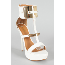 Metallic Shield Ankle Cuff Open Toe Platform Sandal
