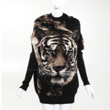 Scoop Neck Tiger Printed Batwing Sleeve Knitted Cardigan Sweater