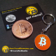 Bitcoin Keychain and 1 oz Bitcoin Copper Round