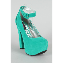 Trigger Ankle Strap Almond Toe Platform Pump (Sea Green)