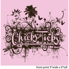 Pink Chicks with Ticks VNeck T-Shirt