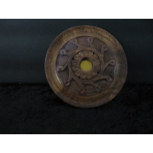 Round Wooden Flower Incense Burner