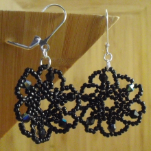Black beaded flower earrings
