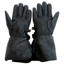 Hawg Hides Solid Leather Gauntlet Style Motorcycle Gloves - MEDIUM