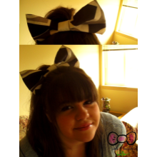 Patterned Bow - Black/Gray/White
