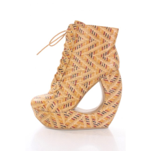 Camel Faux Leather Rafia Print Lace Up Round Toe Bootie Cutout Wedge