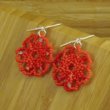 Red beaded flower earrings