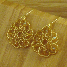 Gold beaded flower earrings