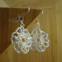 Silver and Blue beaded flower earrings