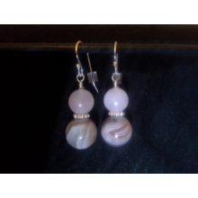 Agate, Rose Quartz, and Sterling Silver Earrings