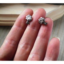 Tiny Trees - sterling and fine silver post earrings