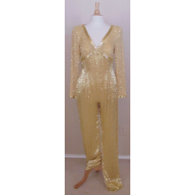 Darius Cordell - #3297 - Beaded Pant Suit, Pageant Wear, Gold Formals