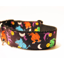 "Big Dog Collar 1.5"" Wide - Trick or Treating Dinosaurs Vintage Ribbon - Free Shipping"