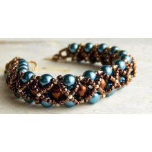 Blue & Brown Caged Pearl Bracelet