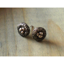 Tiny nest fine silver earrings with sterling posts.