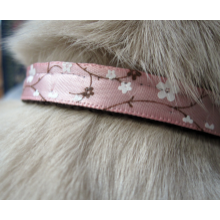 "Breakaway Cat Collar Free Shipping 3/8"" Pink Cherry Blossom Satin Ribbon on Brown Webbing"