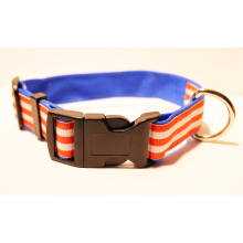 "Dog Collar- 1"" Orange Striped FREE SHIPPING for medium and large dogs"