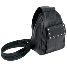 Genuine Black Solid Lambskin Leather Convertible Backpack Purse Shoulder Bag with Studs