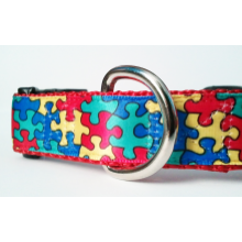 "Dog Collar - 1"" Autism Awareness Puzzle - FREE SHIPPING for medium and large dogs"