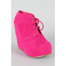 Fuchsia Lace Up Wedge Bootie
