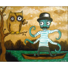 """Steampunk Owl Meets Sextapus in the Woods"""