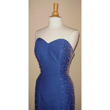 #C266 - Blue Evening Dresses, Pageant Gowns, Strapless Formals