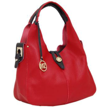 Genuine Leather Hobo Bag RED