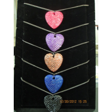 Lady Heart Rhine Stone Necklaces