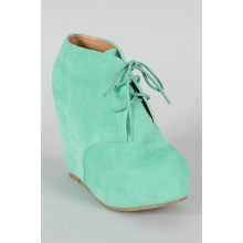 Mint Lace Up Platform Wedge Bootie