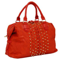 Snake Print Satchel w/Spikes ORANGE