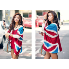 Union Jack Printed Long Batwing Sleeves Quadrate Cardigan Sweater