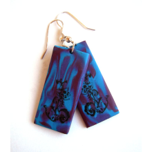 Earrings - Fleur on Teal, Purple, and Magenta Swirl