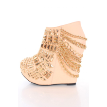 Blush Studs Chain Detail Size Zipper Faux Leather Booties Wedge