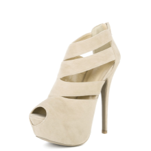 Cutout Peep Toe Booties BEIGE
