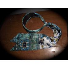 Blue paisley-esque headband.