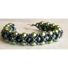 Green & Gunmetal Caged Pearl Bracelet